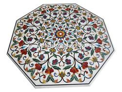 White Marble Marquetry Dining Table Gemstone Inlay Mosaic Floral Art Decor H3079