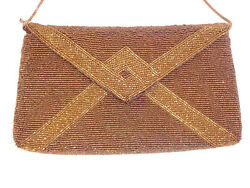 Vintage WALBAEG Evening Bag Hong Kong Beaded Copper Envelope Clutch Shoulder Bag