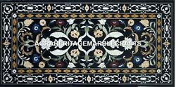 Black Marble Dining Table Floral Inlay Living Room Marquetry Hallway Decor H2897