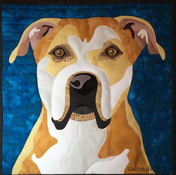 Pit Bull wall hanging quilt 18quot; x 18quot;