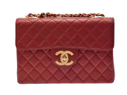 Authentic Chanel Matelasse Women's Leather Shoulder Bag Red 802500020020000