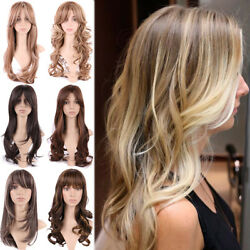 Cheap Ombre Blonde Brown Black Mix Full Wig Ladies Halloween Cosplay Hair Wigs W