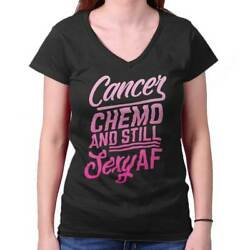 Funny Breast Cancer Chemo Sexy Cute Awareness Womens V-Neck T-Shirts Tees Tshirt $9.99