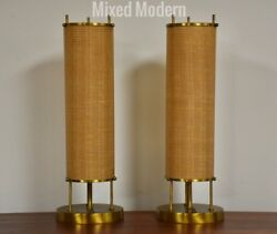 Vintage Mid Century Modern Brass Table Lamps- A Pair