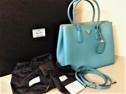 Brand New and Rare PRADA CUIR Double Bag in Turquoise(Turchese)