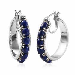 Blue Lapis Lazuli Hoops Hoop Earrings for Women Gift Jewelry Hypoallergenic Ct 5