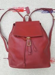 ULTRA RARE Coach H20-9827 Women's Leather Backpack Red 2004 Mint Condition