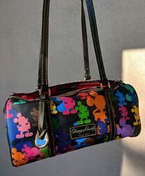 Rare Dooney and Bourke Wonder Mickey Silhouette Barrel Bag Purse