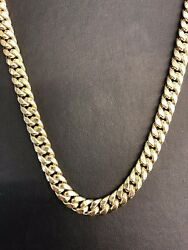 10k Yellow Gold Hollow 9.5mm Miami Cuban Link Chain Necklace 28