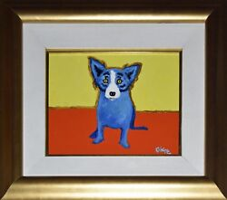 George Rodrigue Blue Dog Original Painting Rare Early Work Signed Canvas Animals