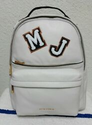 New $595 Marc Jacobs Varsity Vintage White Leather Patch Large Women's Backpack