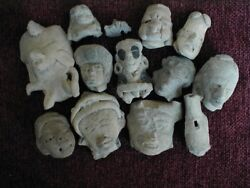 13 Pre-columbian / Mayan Artifacts Incl. Bird Whistle And Stamp