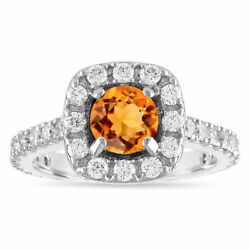 1.80 Carat Citrine Halo Engagement Ring 14k White Gold Pave Certified Handmade