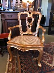 Antique Hand Carved 19th C Venetian Arm Chair Professionally Gilt W/ Cane Seat