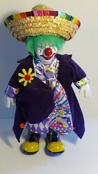 Porcelain Clown With Mexican Hat