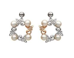 House of Lor Celtic Trinity Knot Pearl Earrings Sterling Silver