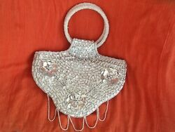 New Hand Beaded Silver Evening Purse $8.60