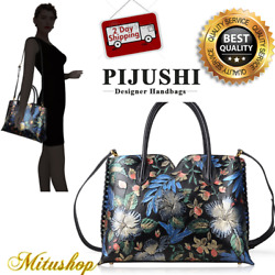 PIJUSHI Designer Purse Handbags Handle Bag Black Floral Gift For Woman Leather