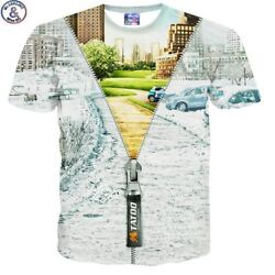 Mr.1991 brand magical zipper 3D print t-shirt for kids summer style short sleeve