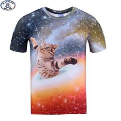 Mr.1991 brand galaxy cat 3D t-shirt for boys and girls New 2017 summer style tee
