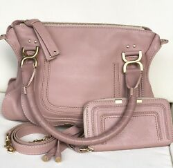 SET Auth Chloe Marcie Medium Handbag & Long Wallet Rose Anemone Pink
