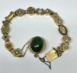 Victorian Gold & Gold Filled Slide Bracelet w Serpentine Clasp