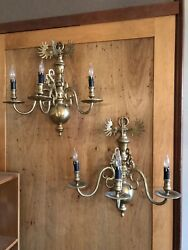 Pair Of Antique Continental Sold Brass Three Light Wall Sconces New Wiring
