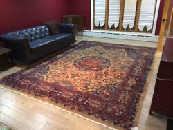 Rare 9 X 12 Antique 100 Year Old Heriz Oriental Area Rug Hand Knotted 9x12