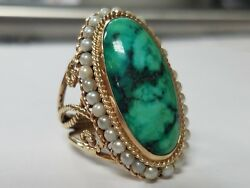 Turquoise And Seed Pearl 14k Yellow Gold Ring