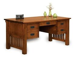 Amish Mission Craftsman Writing Computer Desk Office Furniture Solid Wood