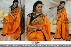 Orange Black Silk Indian Traditional Embroidery Designer Party Wedding Saree