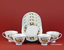 Set Of 4 Footed Cups And Saucers, Mint And Superb Royal Doulton Miramont, Tc1022
