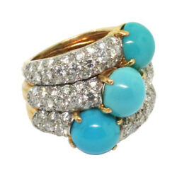 1.60ct Natural Diamond 14k Solid Yellow Gold Turquoise Wedding Cluster Ring