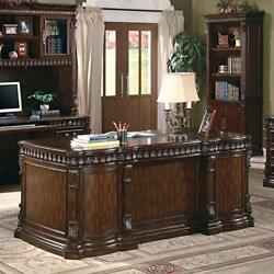 Tucker Double Pedestal Executive Desk with Leather Insert Top Rich Brown