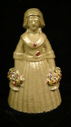 Judd Co. Woman Holding Two Flower Baskets Cast Iron Doorstop 1270 Lot315