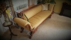 American Empire Classical Carved Mahogany Scroll Arm Antique Sofa