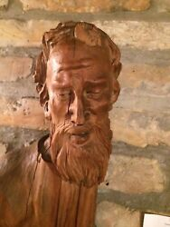 Antique Religious Wood Saint Sculpture From The 19th Century