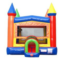 Commercial Inflatable Bounce House With Blower Modular Rainbow Moonwalk Castle
