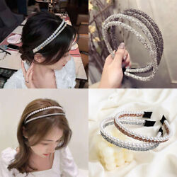 Women's Two-Layer Crystal Headband Hair Band Hair Hoop Accessories Gifts Party $3.00