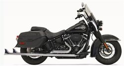Bassani 1s76e-36 36 Chrome Dual Fishtails Exhaust Harley 18-19 Heritage Deluxe