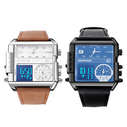 New Men's Watches Dual Time Zone Leather Strap Big Face. Ship From Usa