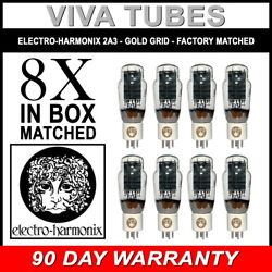 New Ip And Gm Factory Matched Octet 8 Electro-harmonix 2a3 Gold Grid Tubes