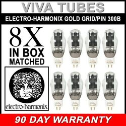 New Ip Factory Matched Octet 8 Electro-harmonix 300b Gold Grid And Pins Tubes