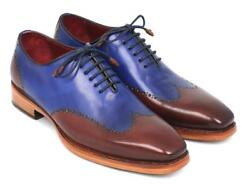 Paul Parkman Mens Wngtp Oxford Goodyear Welted Blue And Brown D81blu57
