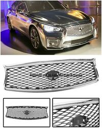 Eau Rouge Style Front Bumper Glossy Chrome Mesh Grille For 14-up Infiniti Q50
