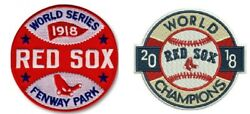 Boston Red Sox World Series Champions Patch Set 1918 And 2018 Vintage Style Set 2
