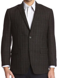 Andrew Marc Menand039s Modern-fit Side Vent 100 Wool Brown Check Sportcoat - 40r M