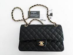 Black CHANEL Shoulder Bag Women's Messenger Bags Leather CC Logo Chain Handbags