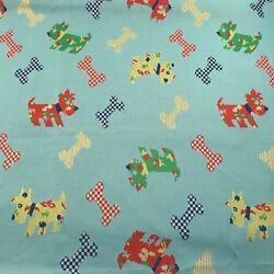 Vintage Polyester Fabric Westie Terrior Dog Red Blue Yellow Green Darling 80x62