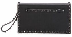 $2375 New Valentino Noir Rockstud Rolling leather Flap Clutch wristlet bag Blk